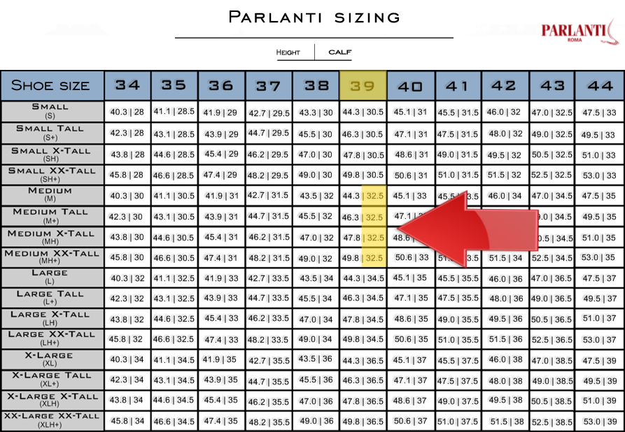 What Shoe Size Am I In Europe.Parlanti Passion Sizing Guide Official Parlanti Shop
